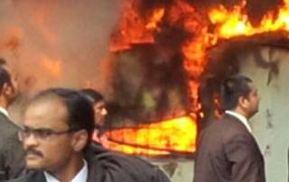 UP: Lawyers on rampage after advocate's murder, torch govt bus
