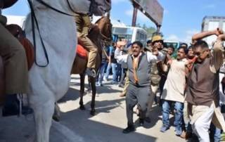 Caught on camera: BJP lawmaker attacks police horse with lathi, breaks its leg