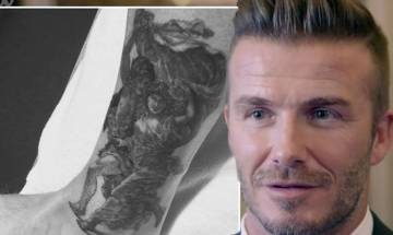 David Beckham unveils huge new ankle tattoo