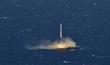 Watch: SpaceX lands on a floating drone ship in the Atlantic Ocean