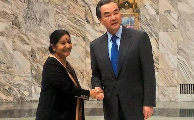 Sushma Swaraj with her Chinese counterpart Wang Yi