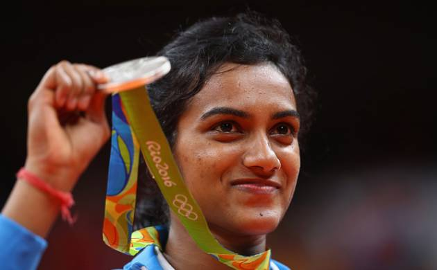 P V Sindhu at Rio Olympics winning ceremony: Source Getty Images