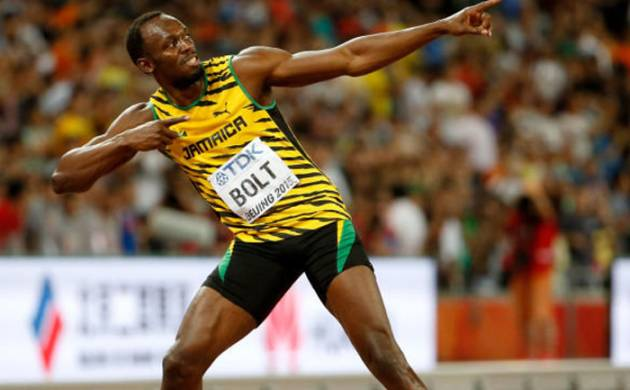 Usain Bolt in his trademark pose