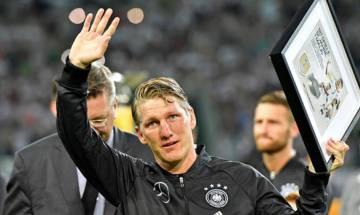 German midfielder Bastian Schweinsteiger in tears as he plays final international match