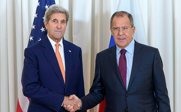 Secretary of State John Kerry shakes hands with Russian Foreign Minister Sergei Lavrov