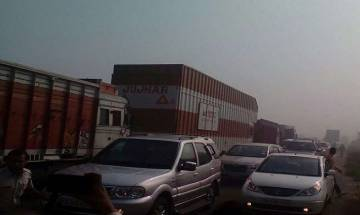 Video: Dense smog cloud wreaks havoc, 30 vehicles collide on Delhi-Hissar Highway near Rohtak
