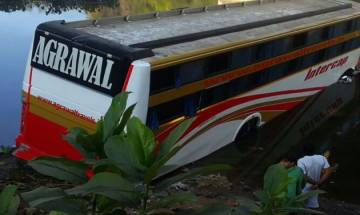 16 injured after private bus falls into river in Gujarat