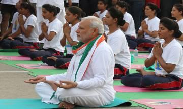 PM Modi participates in yoga session with top cops in Hyderabad