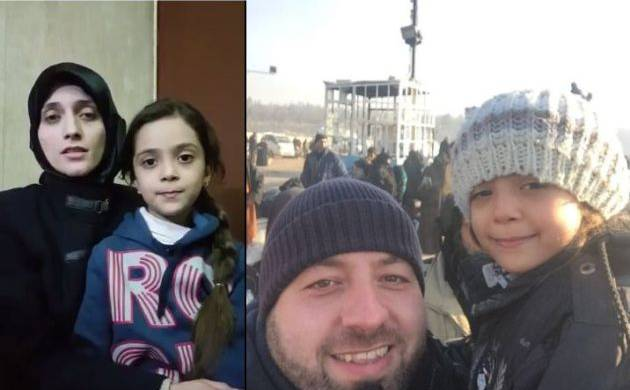 A combination picture of Bana Alabed with her mother Fatemah (Left side image) and with SAMS relief coordinator Zaher Sahloul (Right side image). Pic source: @AlabedBana and @sahloul