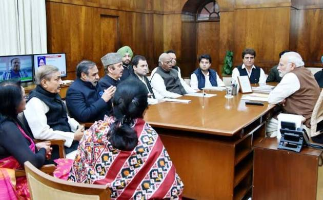 Prime Minister Narendra Modi interacts with Opposition leaders. (File Photo)