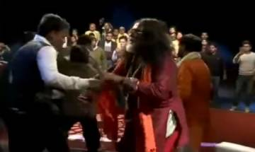 Videos | Ex-Bigg Boss 10 contestant Swami Om indulges in scuffle, faces protests in studio