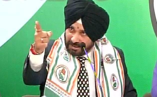 Congress leader Navjot Singh Sidhu addresses a press conference in Delhi. (Image: ANI)