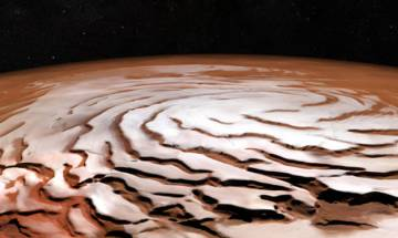 Mars Express captures stunning pictures showing Swirling spirals on north pole of red planet