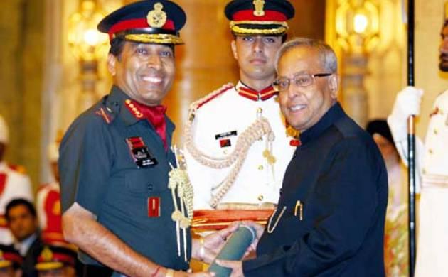 File photo of Lt Gen (Rtd) Ramesh Halgali with President Mukherjee