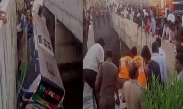 Andhra Pradesh: 7 dead 30 injured as bus falls off  flyover in Krishna district