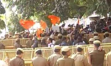 Ramjas college row: ABVP members protests outside Delhi Police headquarters