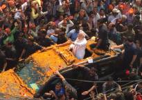 PM Modi's roadshow in Varanasi: Saffron sea as thousands throng on streets