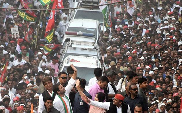SP and Congress also held a roadshow in Varanasi on Saturday (PTI Image)