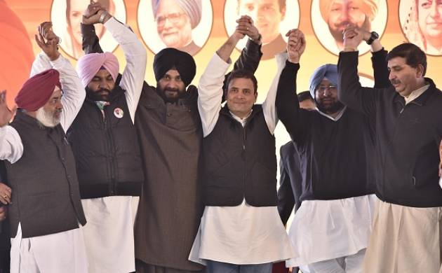 Top Congress leaders after victory in Punjab (source; Getty)