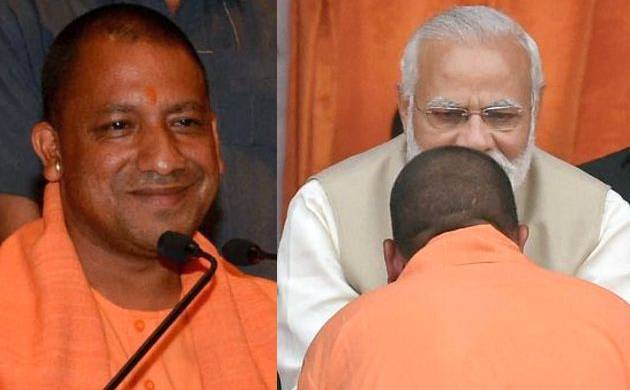 Combination picture of Uttar Pradesh chief minister with Prime Miniser Narendra Modi at Lucknow (PTI)