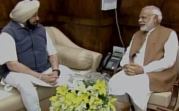 Punjab CM Amarinder Singh meets PM Modi (Pic: ANI)