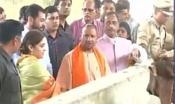 UP CM Yogi Adityanath visits Aparna Yadav's cow shelter in Lucknow