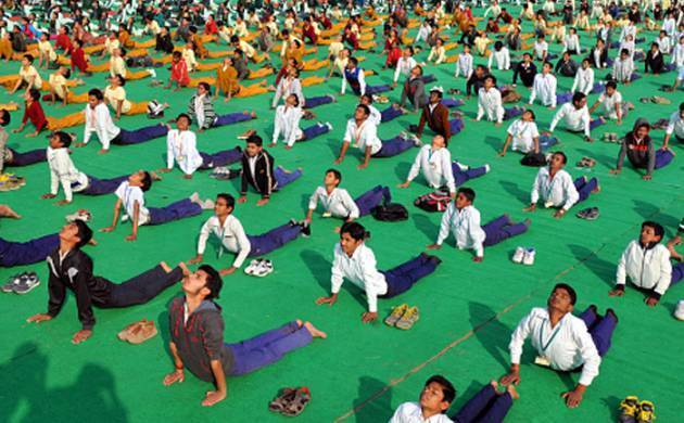 Yoga practitioners display their skills during the International Yoga Day in Delhi. (File Photo)