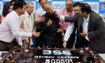 Celebrations at BSE as Sensex ends above 30,000 mark