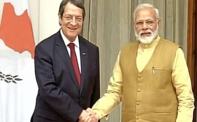 PM Modi, Swaraj meet Cyprus President to discuss bilateral cooperation (ANI Image)