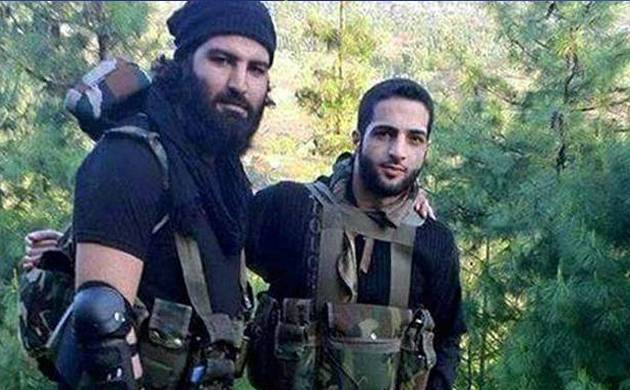 A file photo shows Sabzar Ahmad Bhat with former Hizbul commander Burhan Wani
