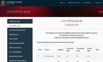 Delhi University Admission 2017: St Stephen's College releases first cut-off list; check here
