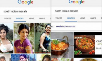 Why does Google show images of actresses when you search for 'South Indian Masala'?