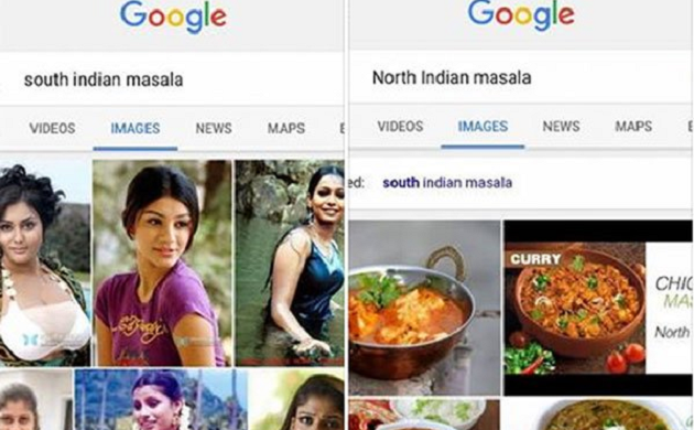 Why does Google shows images of actresses when you search for 'South Indian Masala'?