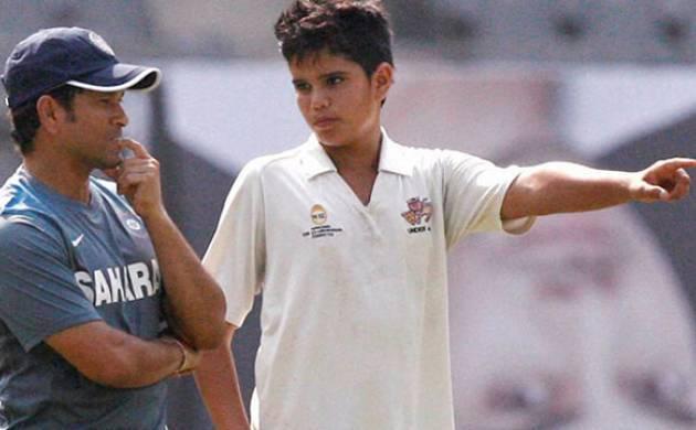 Sachin Tendulkar with his son Sachin Tendulkar
