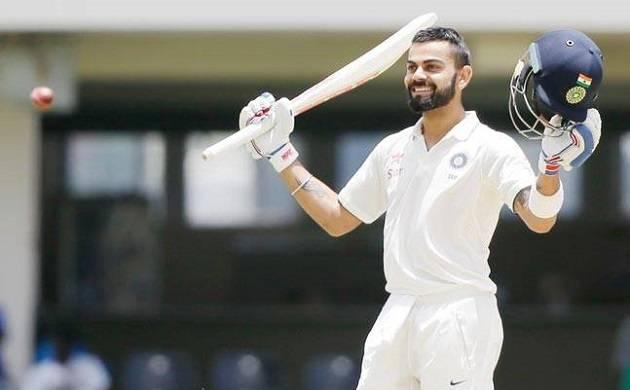 Skipper Virat Kohli hits his 17th Test ton
