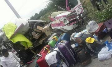 Four Spanish nationals killed as mini bus collides with container truck in Andhra Pradesh