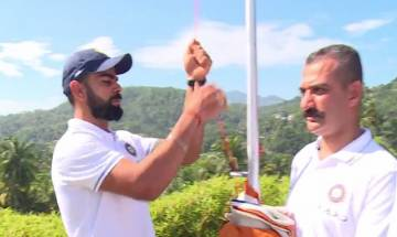 Virat Kohli and team celebrate Independence Day in Kandy, hoist national flag