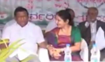 Karnataka congress leader TP Ramesh caught misbehaving with woman party worker