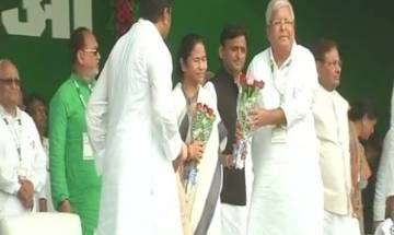 BJP Baghao, Desh Bachao rally live: TMC chief Mamata Banerjee shares dais with CPI leader D Raja in Patna