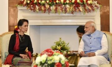 Prime Minister Narendra Modi meets Myanmar President Htin Kyaw in Nay Pyi Taw