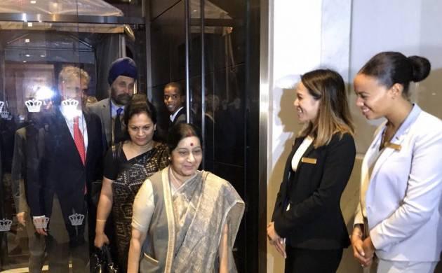 UNGA | Swaraj reaches New York; UNSC seat, counter-terrorism, climate change on agenda (Image: Twitter)