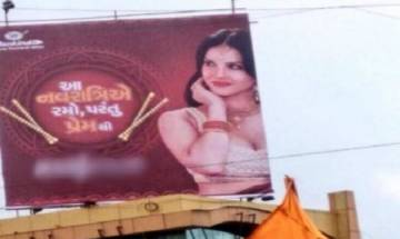 Sunny Leone's Navratri special condom ad evokes protests in Surat