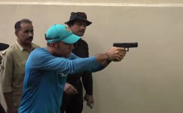 MS Dhoni takes pistol shooting session after team's practice cancelled due to rain in Kolkata (Facebook image)