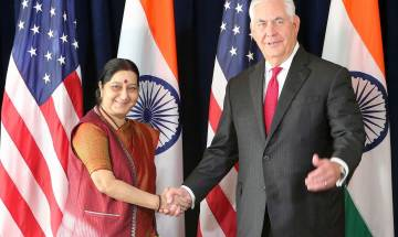 Sushma Swaraj meets US Secretary of State Rex Tillerson, raises issue of terrorism, H-1B