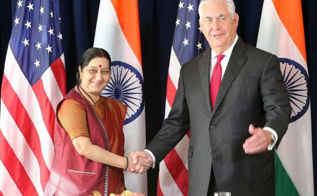 Sushma Swaraj meets US Secretary of State Rex Tillerson, raises issue of terrorism, H-1B (MEA twitter)