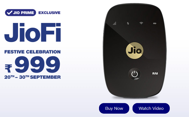 As of now there is no competition to the Reliance Jio's wi-fi device. (Source: Jio website)