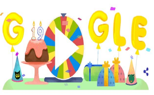 Google celebrates 19th birthday with 'Surprise Spinner' doodle