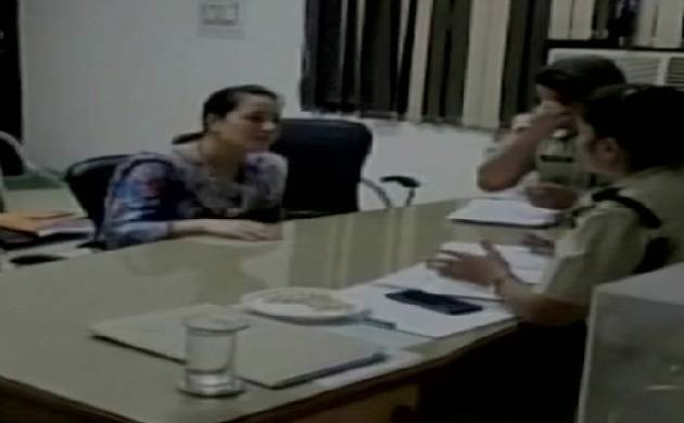 Panchkula Police officers questioning Dera chief Gurmeet Singh's daughter Honeypreet. (Source: ANI)