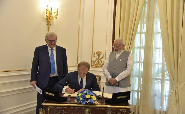 Jean-Claude Juncker today expressed hope that talks on free trade agreement (FTA) between EU and India (Image source: Twitter)