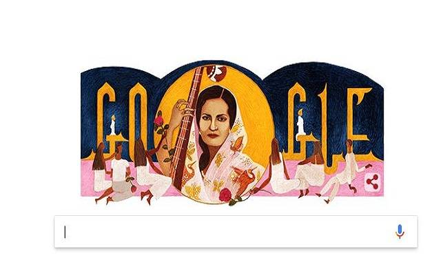 Google doodle celebrates Begum Akhtar's 103rd birthday.